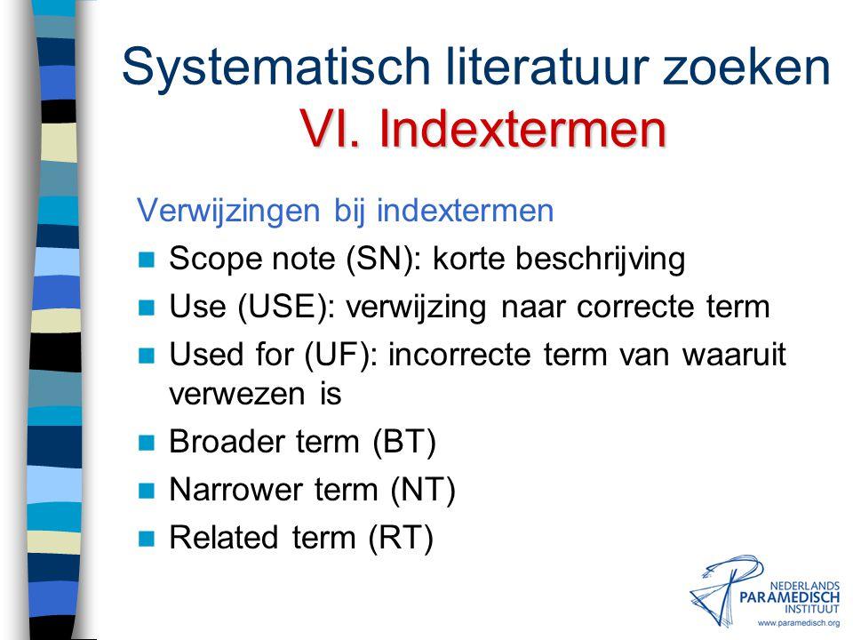 Systematisch literatuur zoeken VI. Indextermen