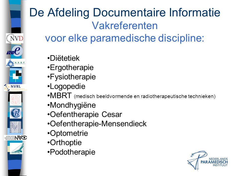 De Afdeling Documentaire Informatie Vakreferenten voor elke paramedische discipline:
