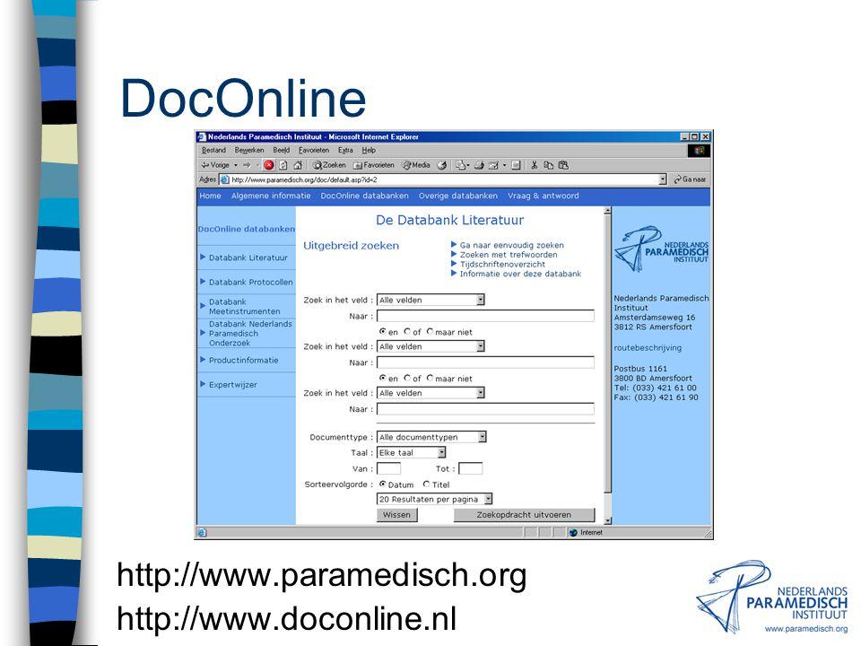 DocOnline http://www.paramedisch.org http://www.doconline.nl