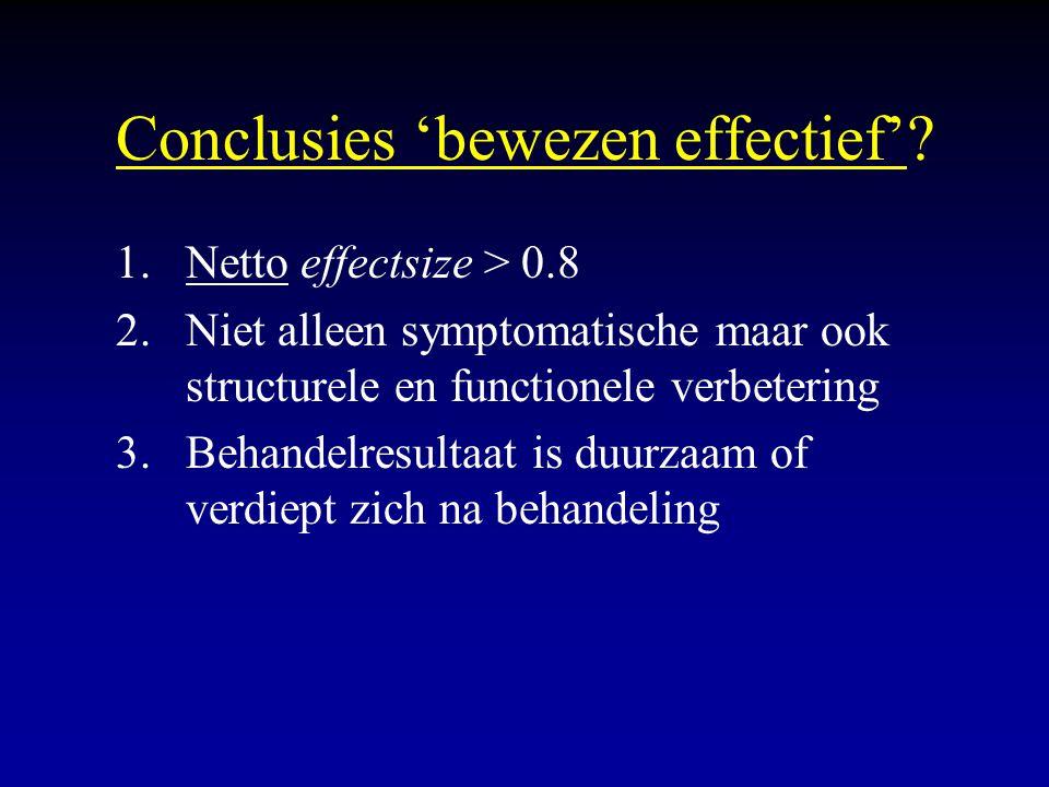 Conclusies 'bewezen effectief'