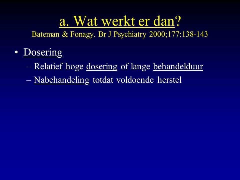 a. Wat werkt er dan Bateman & Fonagy. Br J Psychiatry 2000;177:138-143