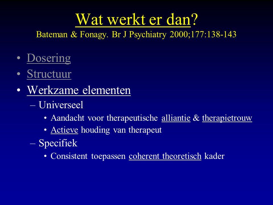 Wat werkt er dan Bateman & Fonagy. Br J Psychiatry 2000;177:138-143