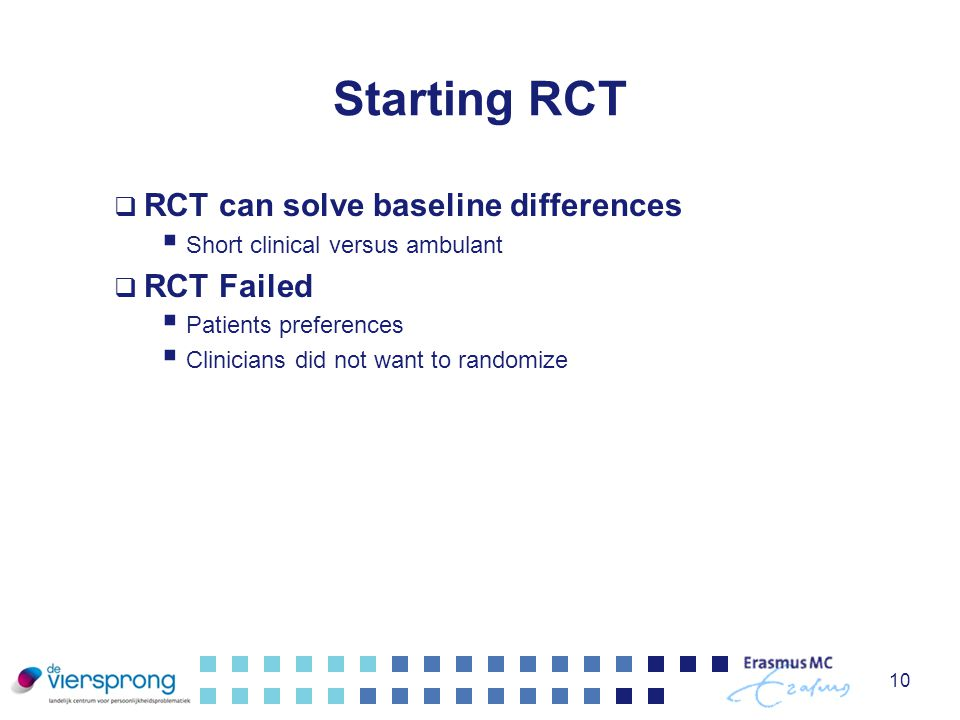 Starting RCT RCT can solve baseline differences RCT Failed