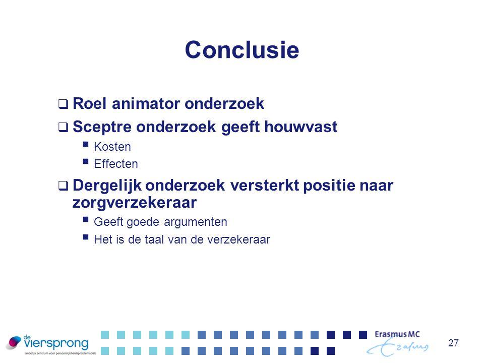 Conclusie Roel animator onderzoek Sceptre onderzoek geeft houwvast
