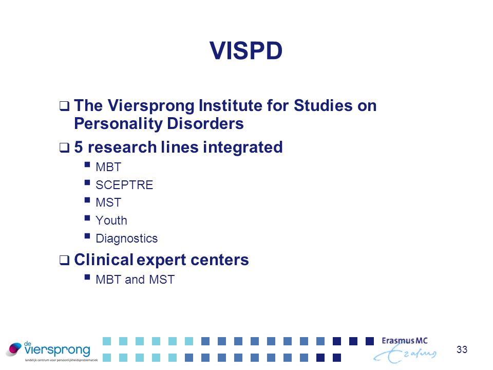 VISPD The Viersprong Institute for Studies on Personality Disorders