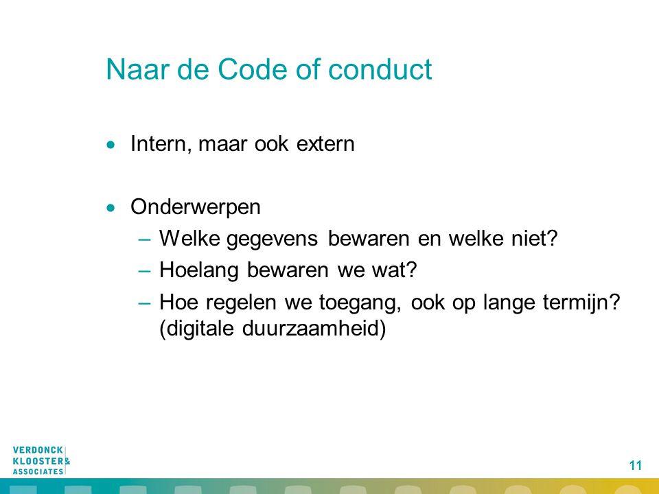 Naar de Code of conduct Intern, maar ook extern Onderwerpen