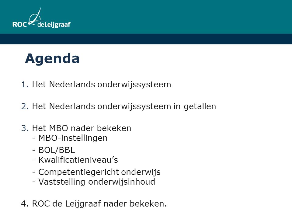 Agenda Het Nederlands onderwijssysteem