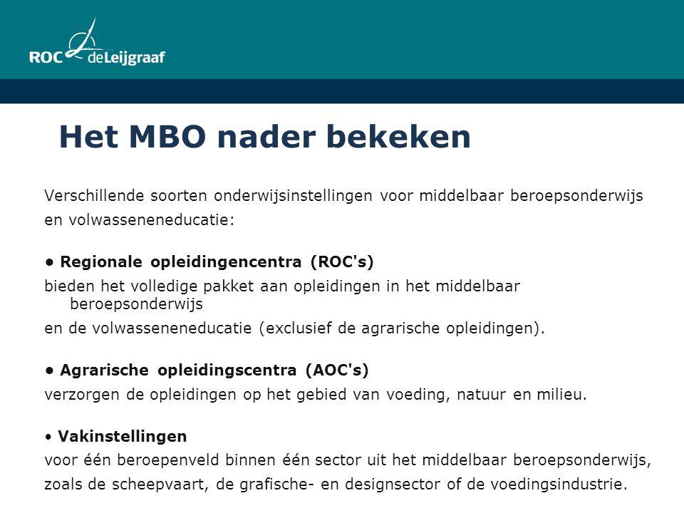 Het MBO nader bekeken Verschillende soorten onderwijsinstellingen voor middelbaar beroepsonderwijs.