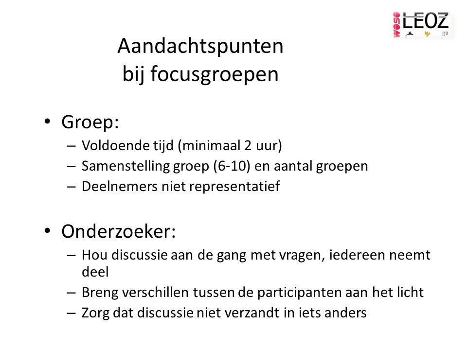 Aandachtspunten bij focusgroepen