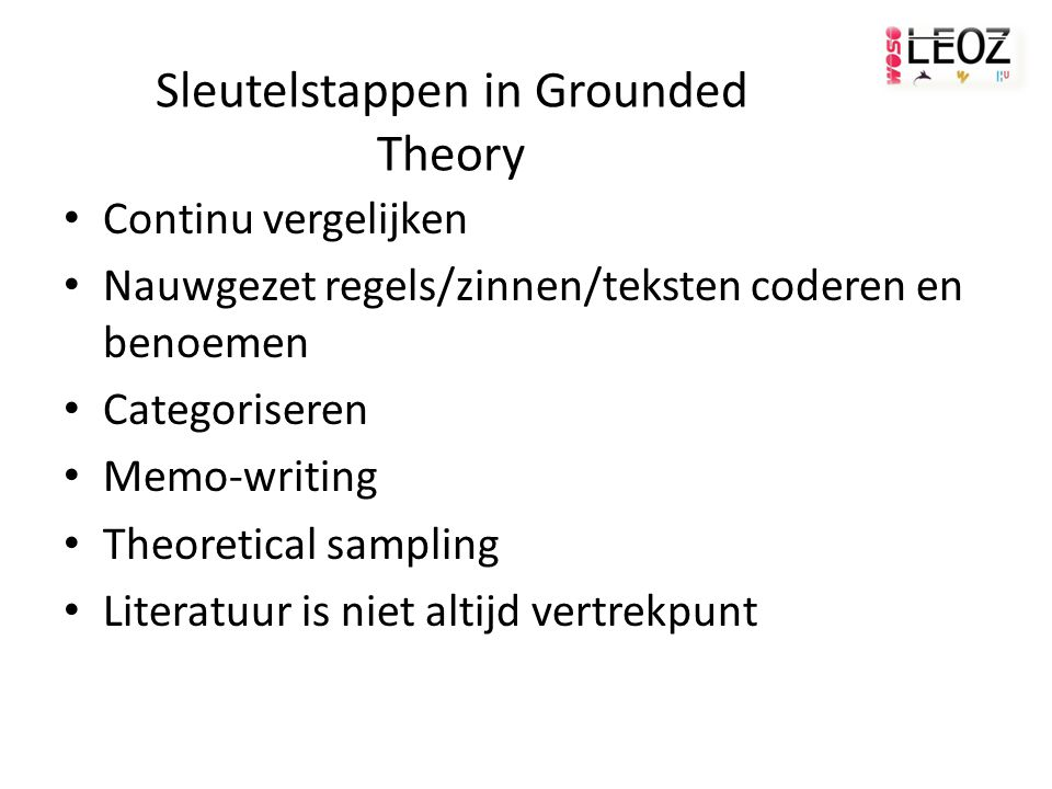 Sleutelstappen in Grounded Theory