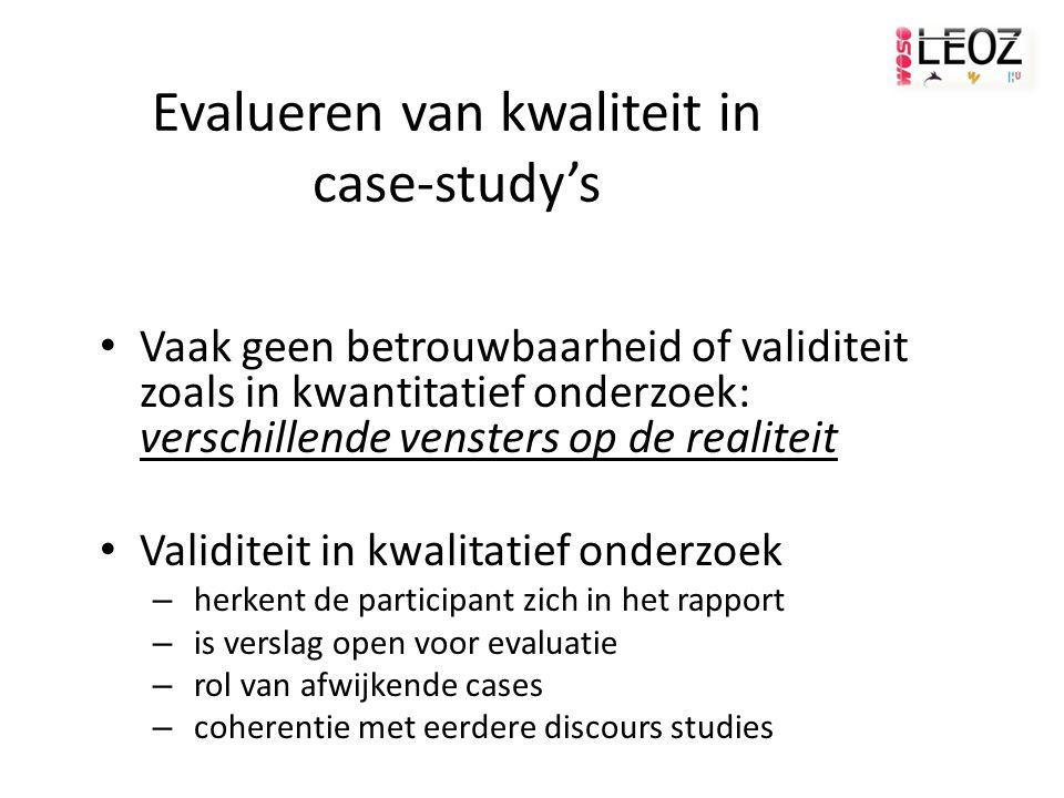 Evalueren van kwaliteit in case-study's