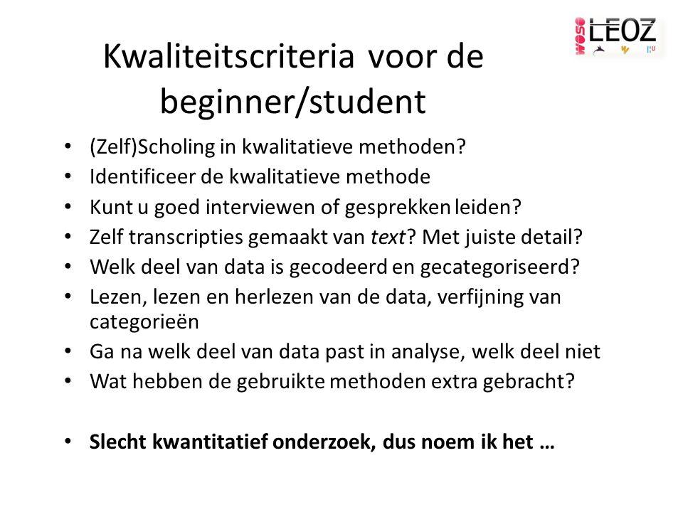 Kwaliteitscriteria voor de beginner/student