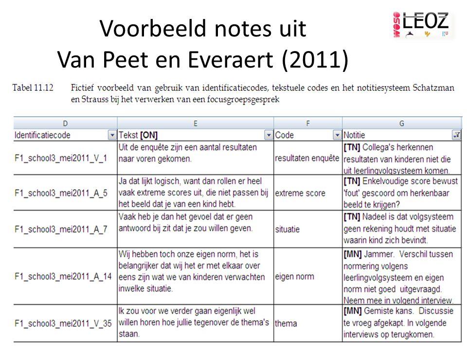 Voorbeeld notes uit Van Peet en Everaert (2011)