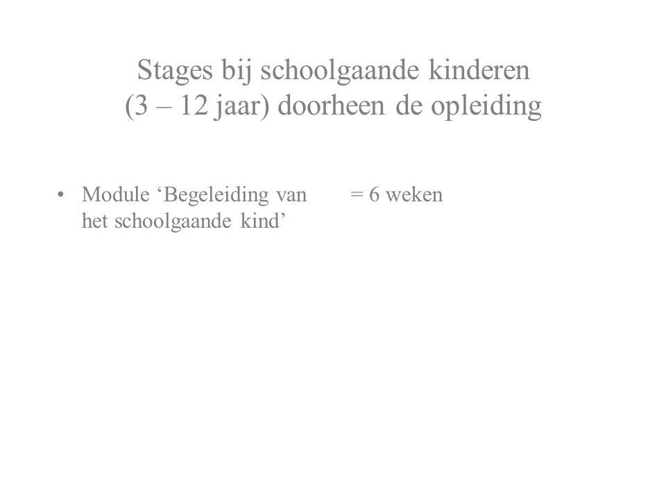 Stages bij schoolgaande kinderen (3 – 12 jaar) doorheen de opleiding