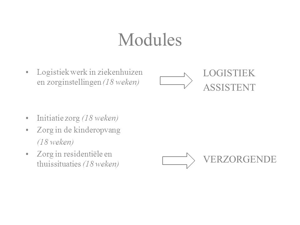 Modules LOGISTIEK ASSISTENT VERZORGENDE