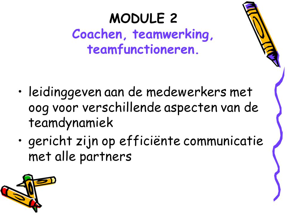 MODULE 2 Coachen, teamwerking, teamfunctioneren.