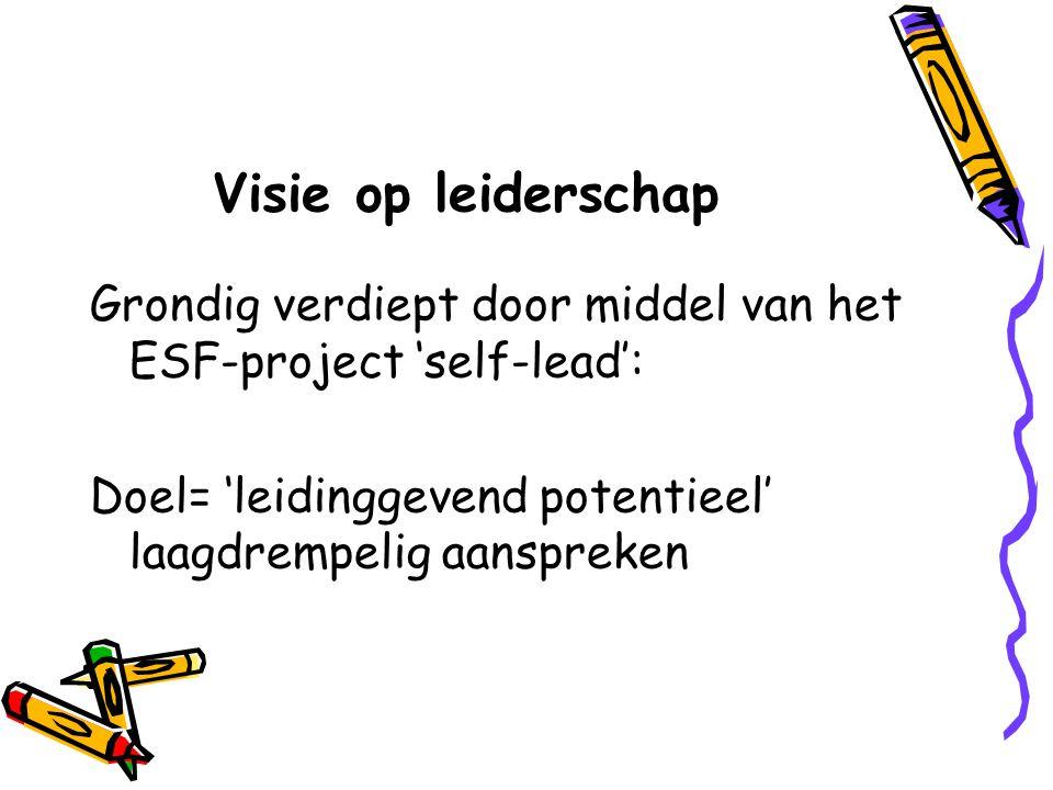 Visie op leiderschap Grondig verdiept door middel van het ESF-project 'self-lead': Doel= 'leidinggevend potentieel' laagdrempelig aanspreken.