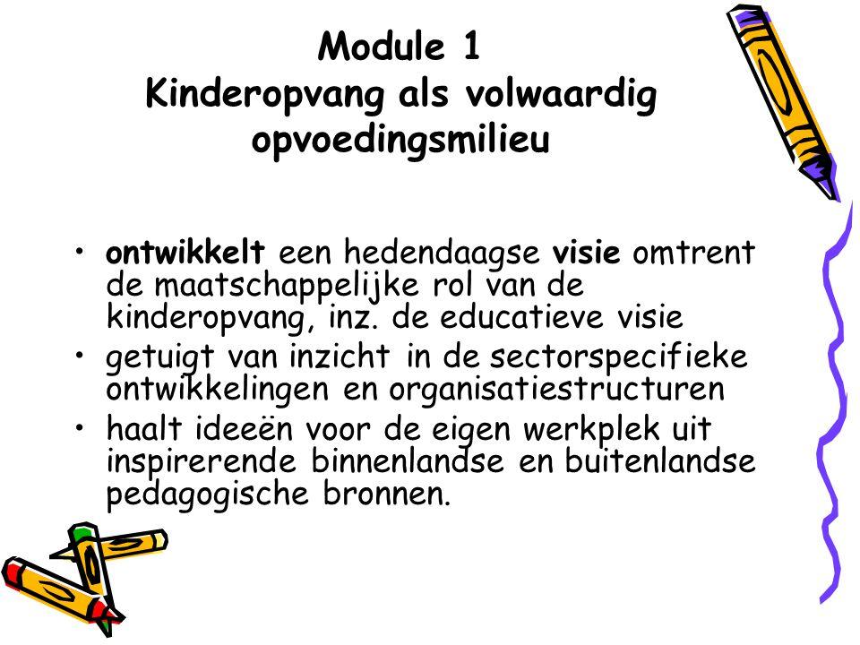 Module 1 Kinderopvang als volwaardig opvoedingsmilieu