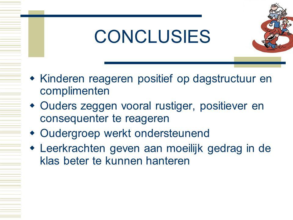 CONCLUSIES Kinderen reageren positief op dagstructuur en complimenten