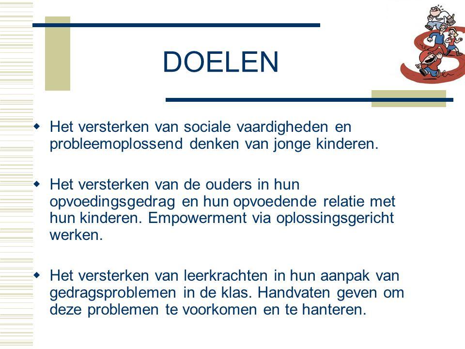 DOELEN Het versterken van sociale vaardigheden en probleemoplossend denken van jonge kinderen.