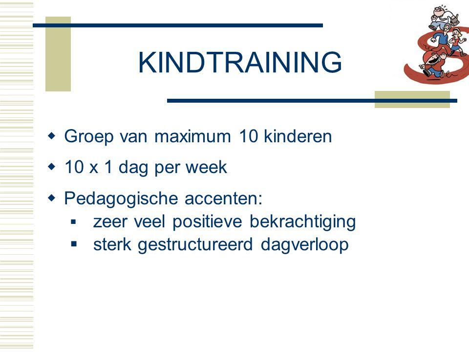 KINDTRAINING Groep van maximum 10 kinderen 10 x 1 dag per week