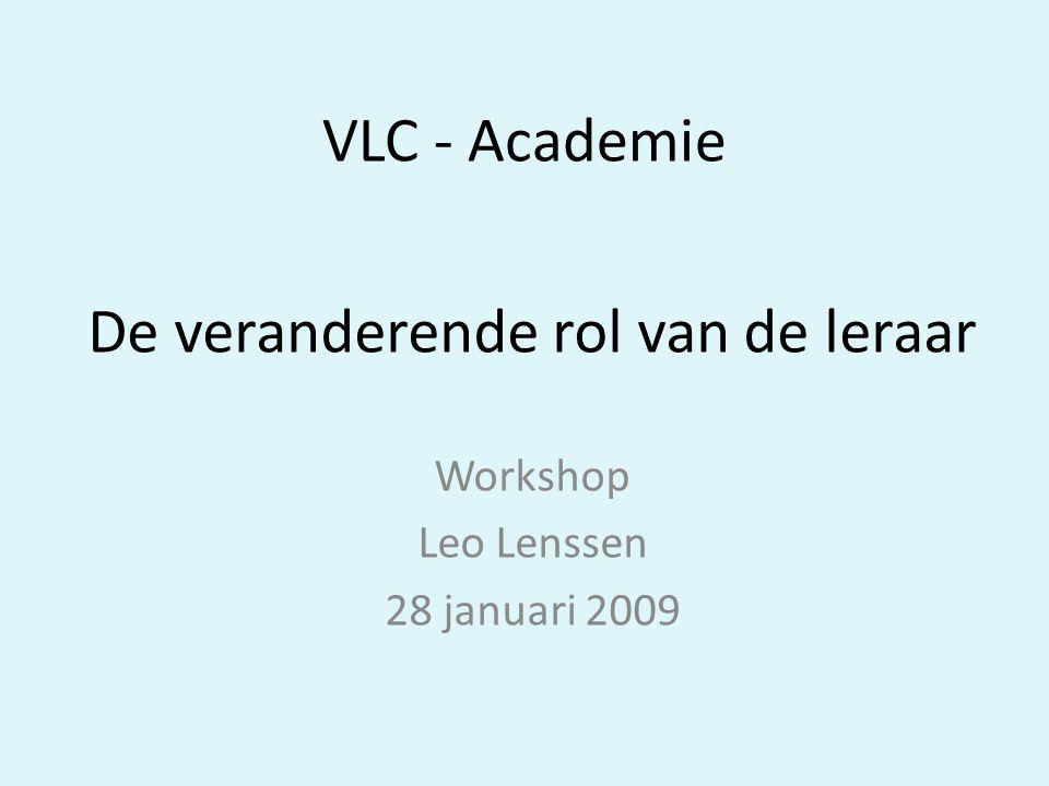 De veranderende rol van de leraar Workshop Leo Lenssen 28 januari 2009