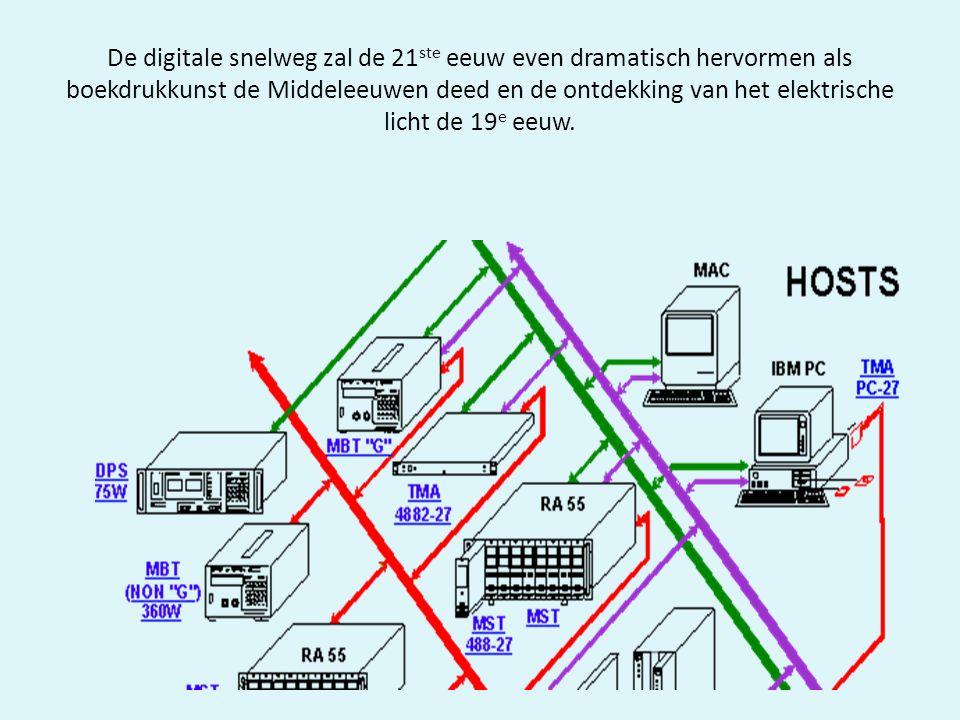 De digitale snelweg zal de 21ste eeuw even dramatisch hervormen als boekdrukkunst de Middeleeuwen deed en de ontdekking van het elektrische licht de 19e eeuw.