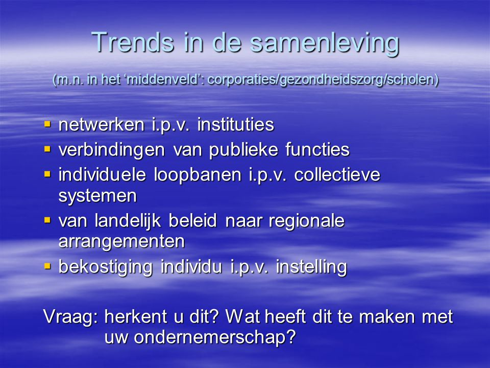 Trends in de samenleving (m. n
