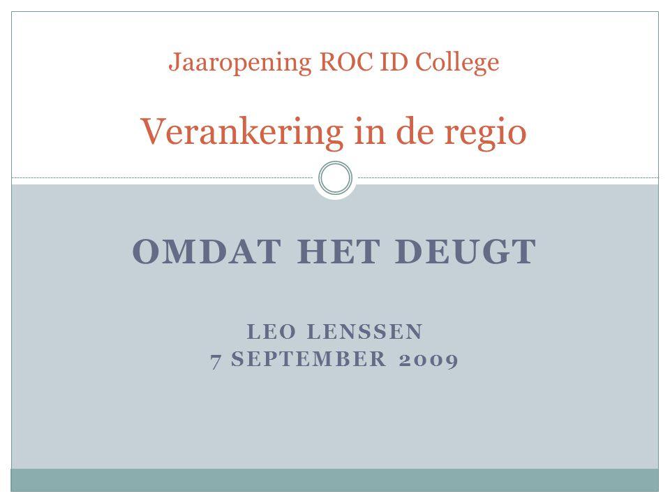Jaaropening ROC ID College Verankering in de regio