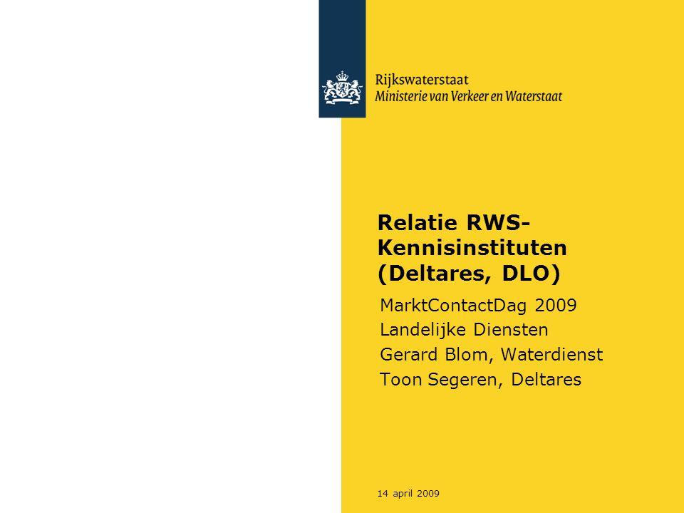 Relatie RWS- Kennisinstituten (Deltares, DLO)