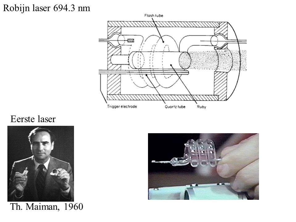 Robijn laser 694.3 nm Eerste laser Th. Maiman, 1960