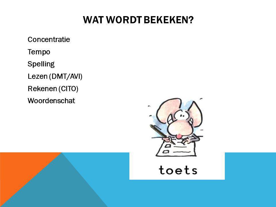 Wat wordt bekeken Concentratie Tempo Spelling Lezen (DMT/AVI) Rekenen (CITO) Woordenschat