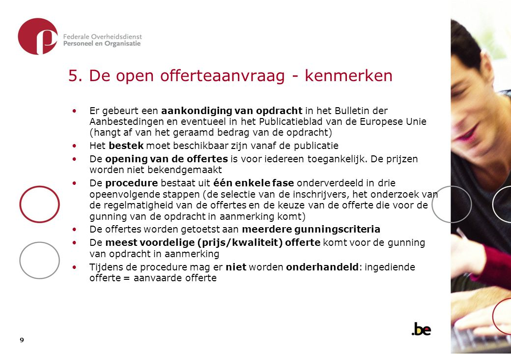 5.1. De open offerteaanvraag - overzicht van de procedure