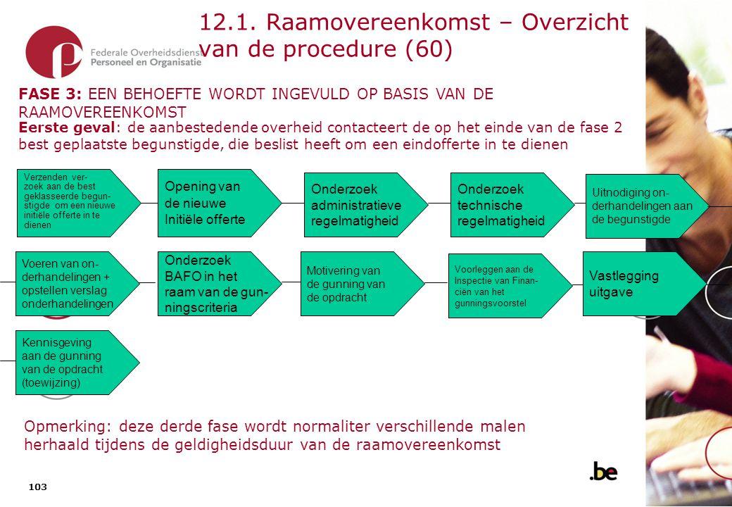 12.1. Raamovereenkomst – Overzicht van de procedure (61)