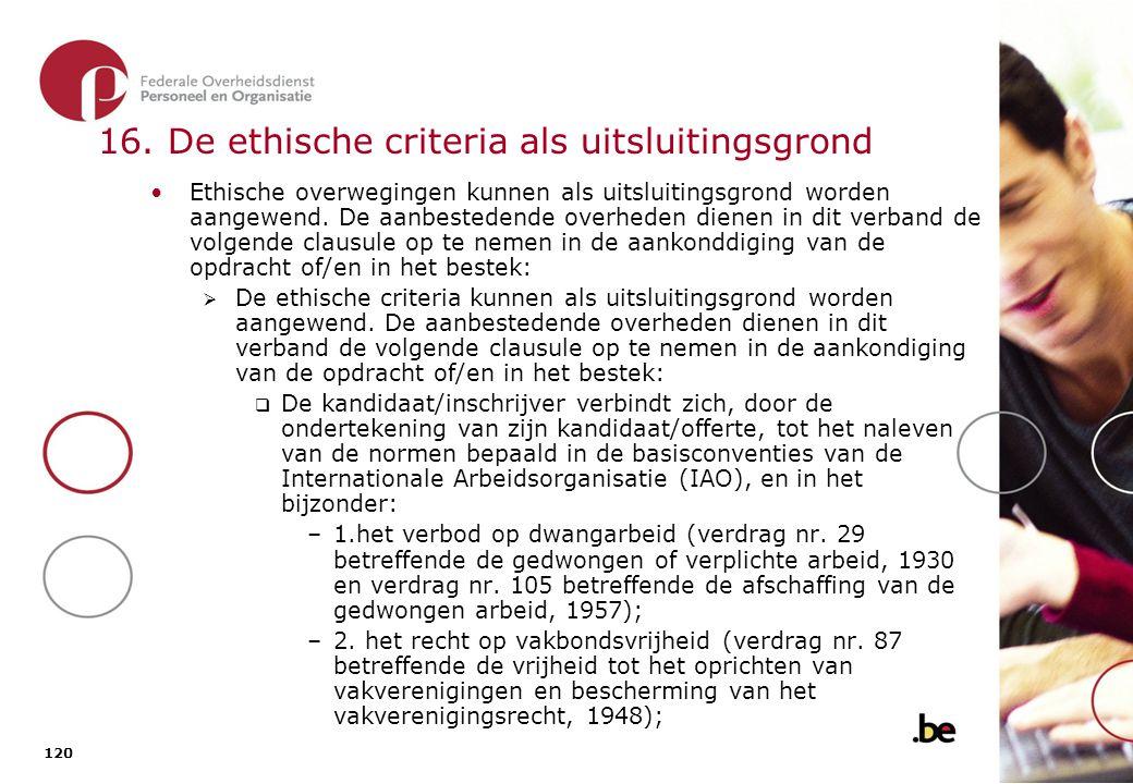 16. De ethische criteria als uitsluitingsgrond (2)