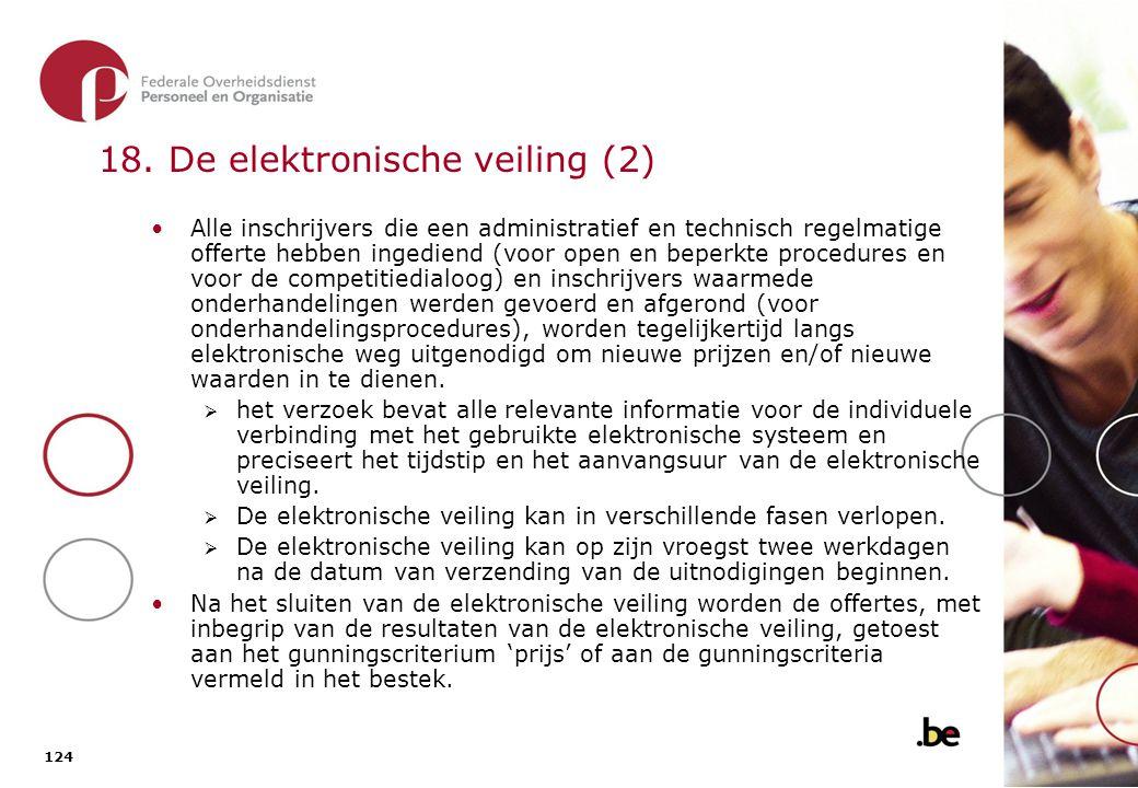 19. De elektronische veiling toegepast op alle procedures De open offerteaanvraag