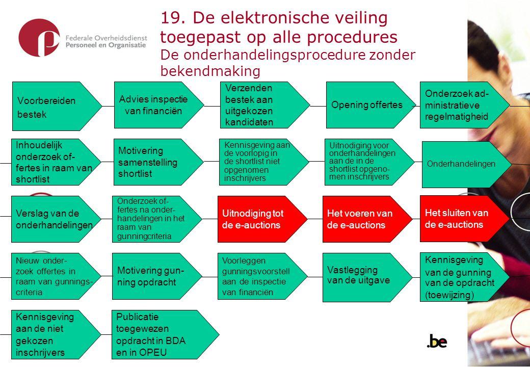19. De elektronische veiling toegepast op de modaliteit raamovereenkomst