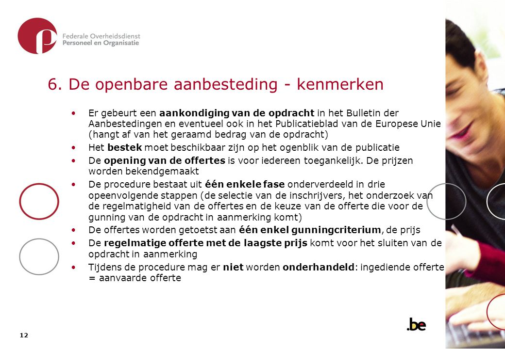 6.1. De openbare aanbesteding - overzicht van de procedure