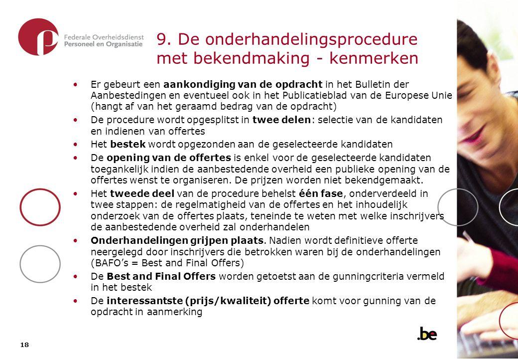 9.1. De onderhandelingsprocedure met bekendmaking - overzicht van de procedure