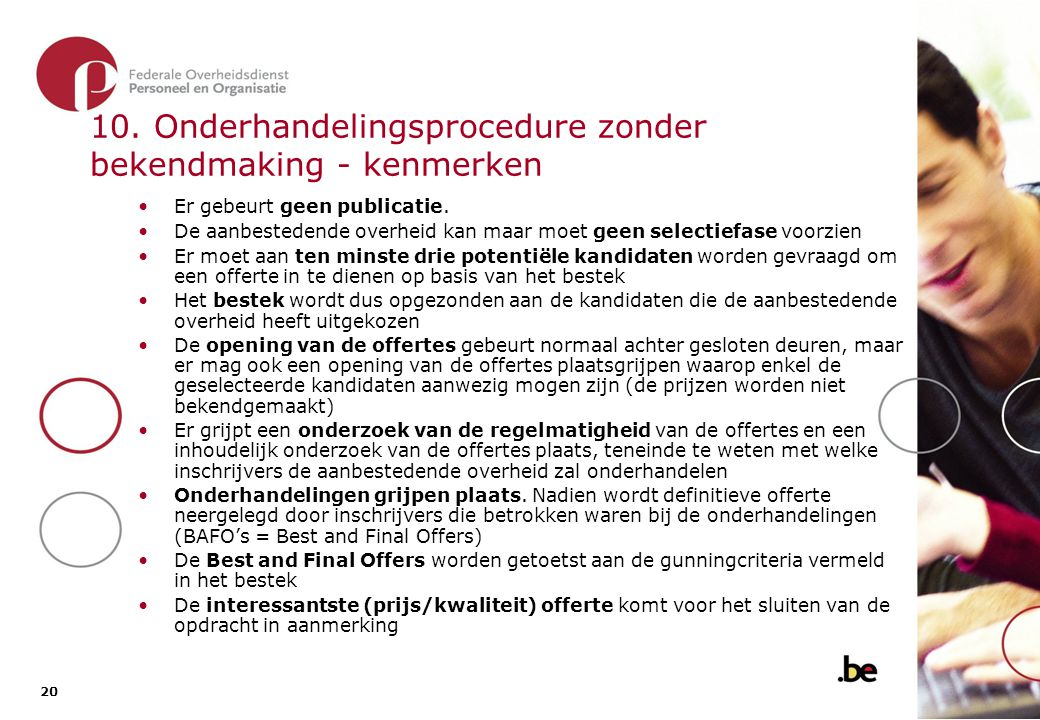 10.1. De onderhandelingsprocedure zonder bekendmaking - overzicht van de procedure