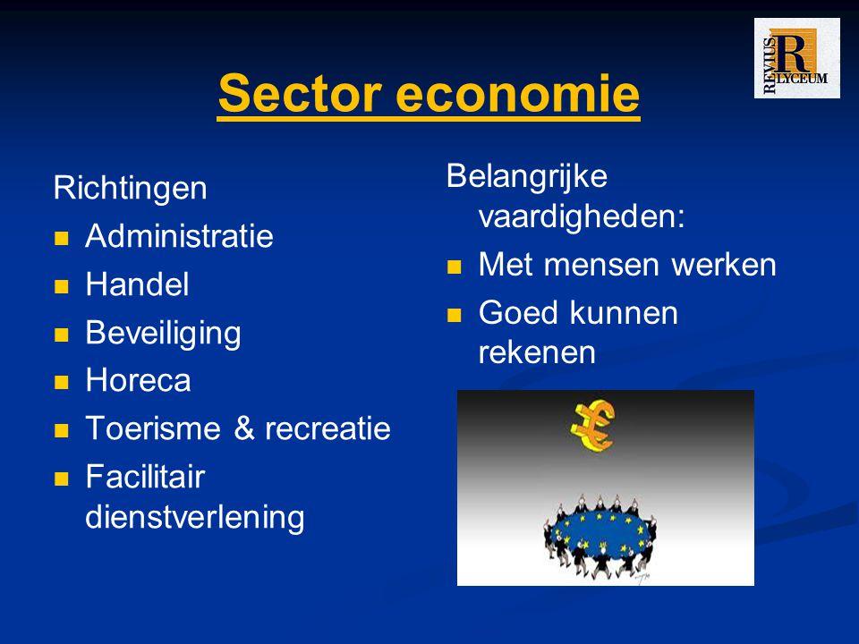 Sector economie Belangrijke vaardigheden: Richtingen Administratie