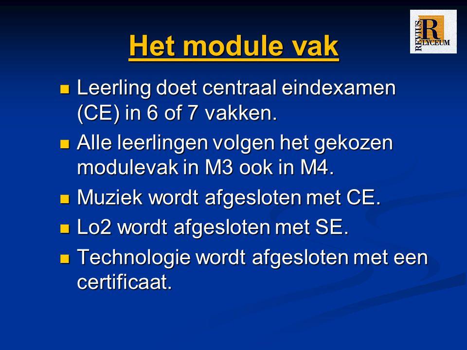 Het module vak Leerling doet centraal eindexamen (CE) in 6 of 7 vakken. Alle leerlingen volgen het gekozen modulevak in M3 ook in M4.
