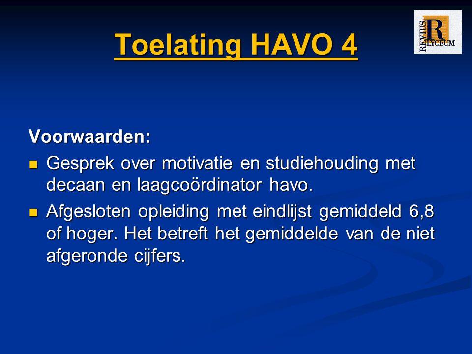 Toelating HAVO 4 Voorwaarden: