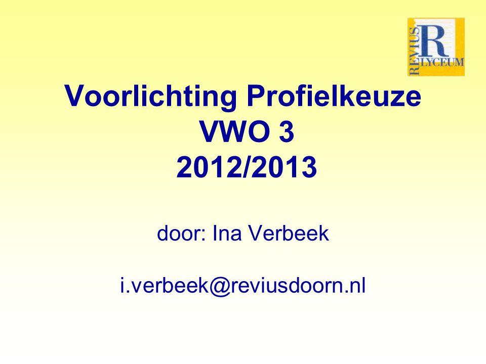 Voorlichting Profielkeuze VWO 3 2012/2013 door: Ina Verbeek i