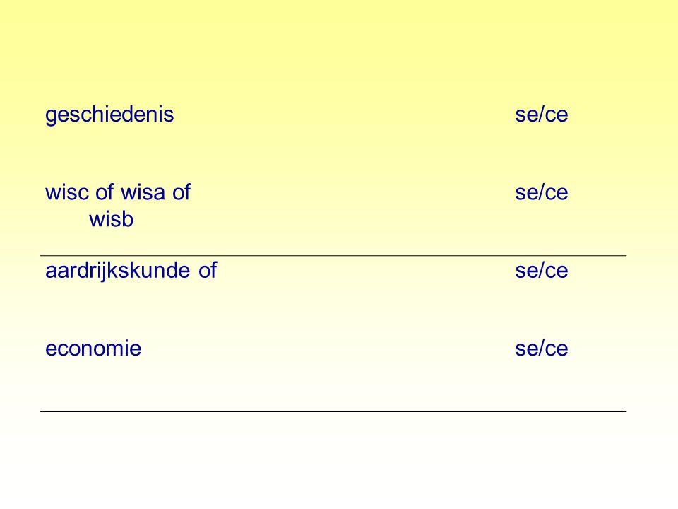 geschiedenis se/ce wisc of wisa of wisb aardrijkskunde of economie
