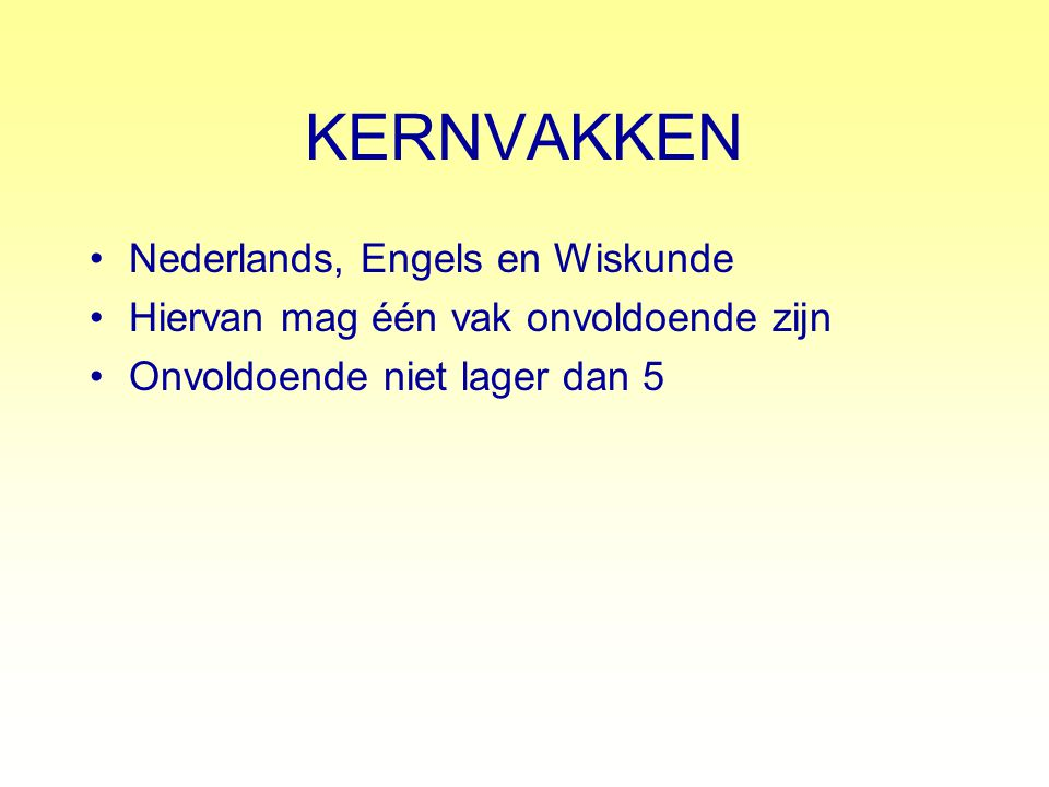 KERNVAKKEN Nederlands, Engels en Wiskunde
