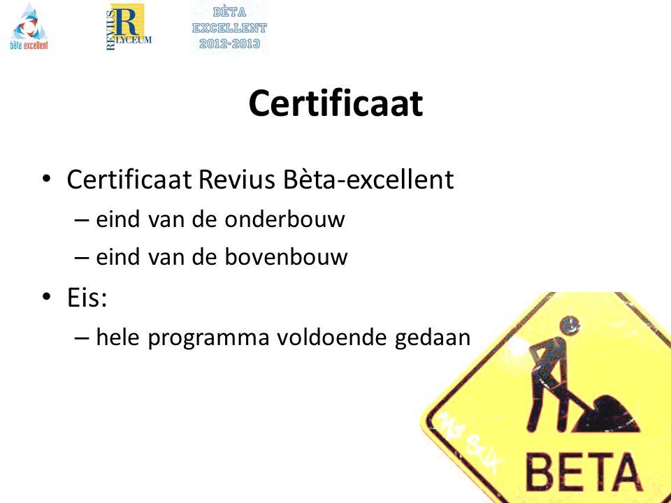 Certificaat Certificaat Revius Bèta-excellent Eis: