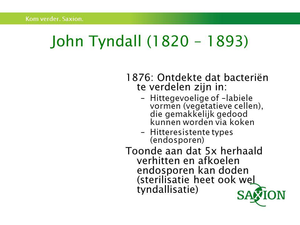 John Tyndall (1820 – 1893) 1876: Ontdekte dat bacteriën te verdelen zijn in: