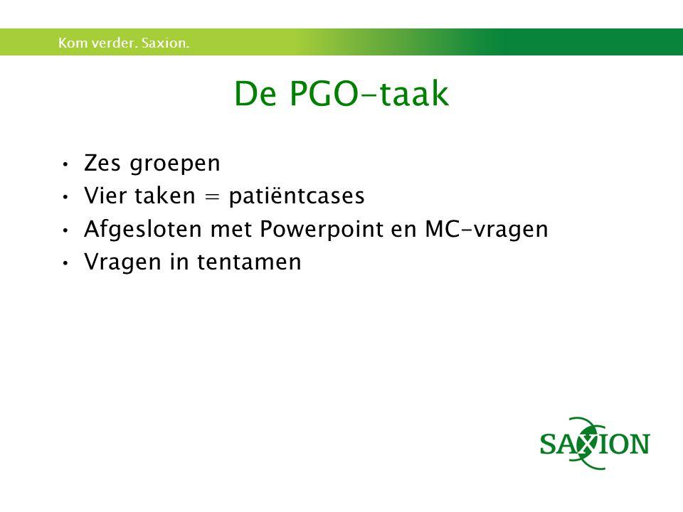 De PGO-taak Zes groepen Vier taken = patiëntcases