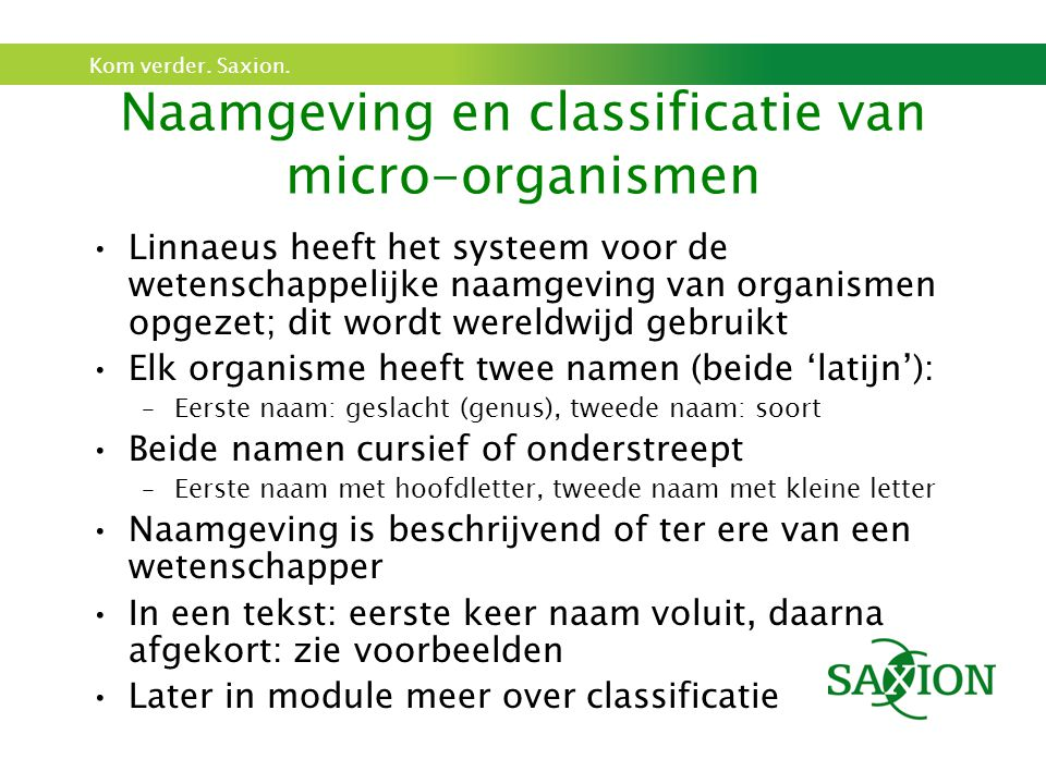 Naamgeving en classificatie van micro-organismen